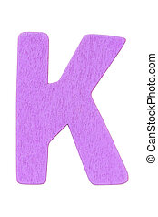 """purple wooden alphabet capital letter """"K"""" isolated on white background"""