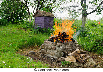 fireplaces ease burn a pile of dry branches
