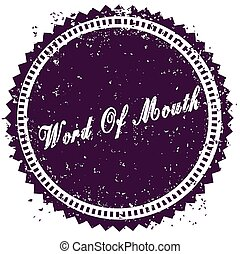 Purple WORD OF MOUTH distressed stamp