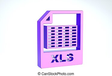 Purple XLS file document. Download xls button icon isolated on white background. Excel file symbol. 3d illustration 3D render