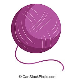 Purple yarn ball icon, cartoon style