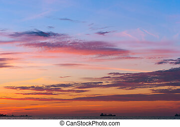 purple yellow blue sky at dawn, bright sunset in the sky