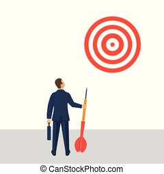 Purpose business concept. Businesman with spear in hand looks at the target. Avhievement of goal. Aspirational people. Challenge achieve aim. Vector illustration in flat style.