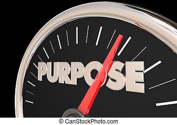 Purpose Mission Goal Reason Speedometer 3d Illustration