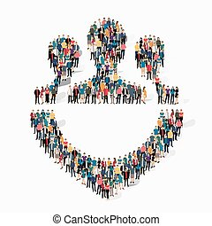 purpose people symbol - Isometric set of styles, purpose , ...