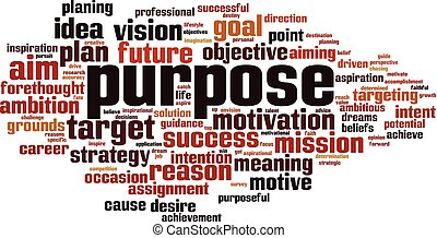 Purpose word cloud concept. Vector illustration