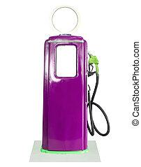 purpur, årgång, pump, bakgrund, drivmedel, vit