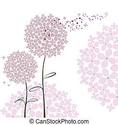 purpur, abstrakt, blomma, hortensia, vår