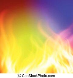 purpur, abstrakt, eld, grön fond, design, din