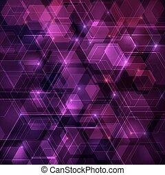 purpur, abstrakt, tekno, bakgrund, med, hexagon