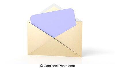 purpur, ark, kuvert, isolerat, gul, papper, white., tom, öppna