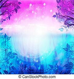 purpur, blå baggrund, forår
