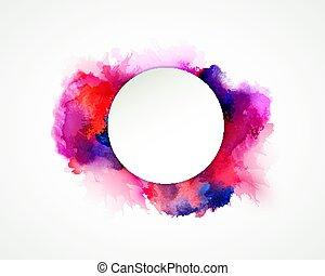 purpur, blå, lila, apelsin, och, rosa, vattenfärg, stains., blank färg, element, för, abstrakt, artistisk, bakgrund.
