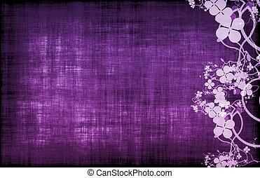purpur, blommig, dekor, grunge