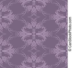 purpur, blommig, tapet, lyxvara