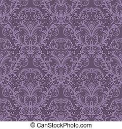 purpur, blommig, tapet, seamless