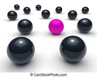 purpur, boll, svart, nätverk, 3
