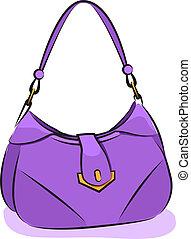 purpur, handväska, vector., kvinnor