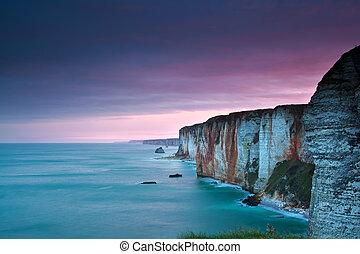 purpur, hen, havet, atlantisk, cliffs, solopgang