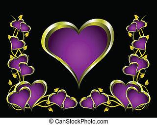 purpur, hjärtan, valentinkort dag, bakgrund