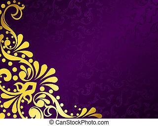 purpur, horisontal, filigran, bakgrund, guld