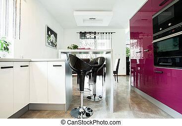 purpur, kök, luxuös, möblemang