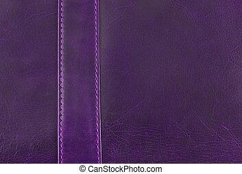 purpur, läder, struktur, med, söm