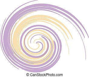 purpur, och, gul, virvla runt