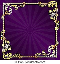purpur, och, guld, ram
