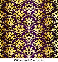 purpur, påfågel, sari, seamless, mönster