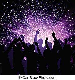 purpur, parti, bakgrund, folkmassa, stjärnor