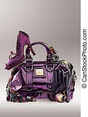 purpur, portmonnä, skor