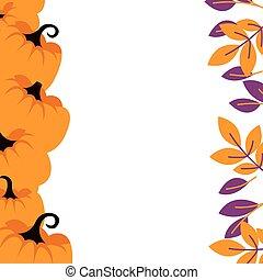 purpur, pumpor, bakgrund, apelsin gräns, template., kort