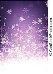 purpur, snowflakes., vinter, bakgrund