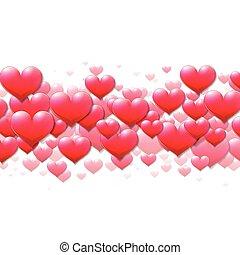 purpur, valentines, spredt, hjerter, dag, card
