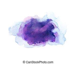 purpur, violett, lila, och blåa, vattenfärg, stains., blank färg, element, för, abstrakt, artistisk, bakgrund.