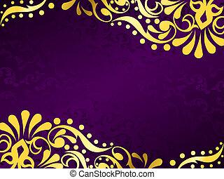 purpurfärgad fond, med, guld, filigran, horisontal