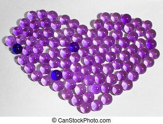 purpurfärgad hjärta, pärlhalsband, form, hydrogel