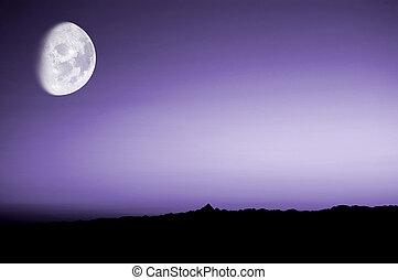 purpurfärgad solnedgång, med, måne