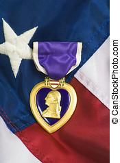 purpurowe serce, na, usa bandera