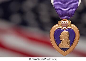 purpurowe serce, przeciw, americal, bandera