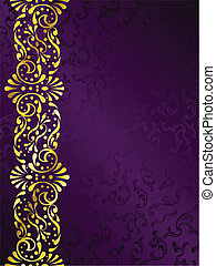 purpurowe tło, z, złoty, filigran, brzeg