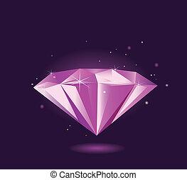 purpurowy, –, diament, wektor