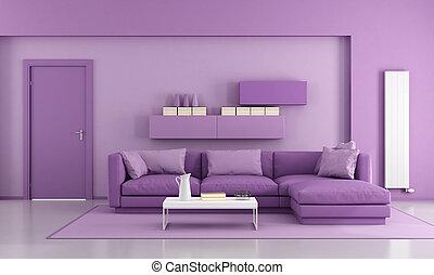 purpurowy, żyjący, nowoczesny pokój
