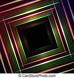 purpurowy, abstrakcyjny, wielobarwny, światła, zielone tło, kwadraty, lustrzany