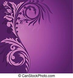 purpurowy, asymetryczny, ozdoba