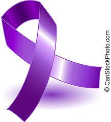 purpurowy, cień, świadomość, wstążka