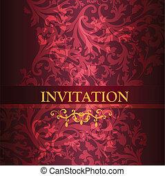 purpurowy, co, luksus, karta, zaproszenie