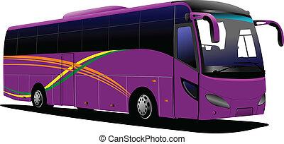 purpurowy, coach., wektor, bus., turysta