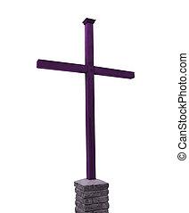 purpurowy, drewniany, krzyż